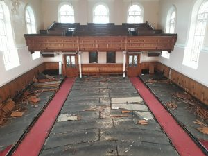 The church after the pews were removed by a salvage company