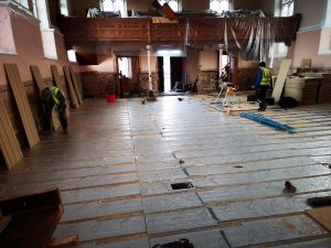 Picture of the insulation over the new underfloor heating system