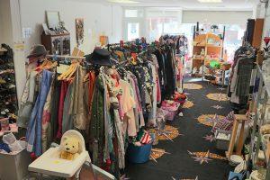 Clothes rails inside the Hollies shop