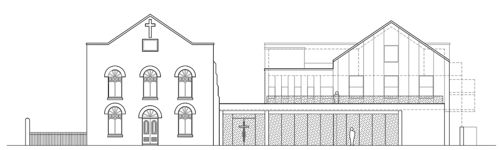 An architects elevation drawing of the proposed centre and the existing church building