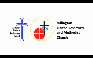 Screenshot from the start of the service on YouTube, shows church logos