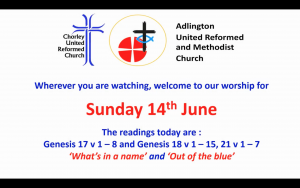 Image is a still from the start of worship, it shows both church logos, the date of the service and lists the readings