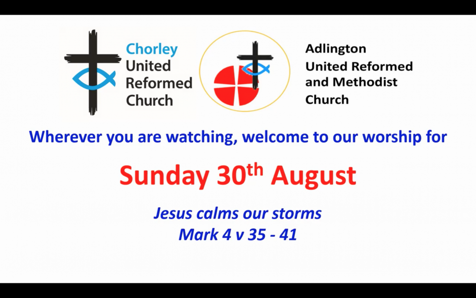 Screenshot of the start of the service, giving the date: 30th August and the reading for today: Jesus calms our storms Mark 4:35-41