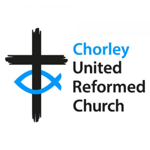 """Chorley URC logo: A black cross with a blue fish on the lower vertical with the text """"Chorley United Reformed Church"""""""
