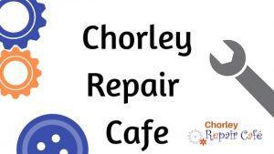 Text says Chorley Repair Cafe, decorated with cogs, a button and a spanner